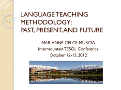 LANGUAGE TEACHING METHODOLOGY: PAST, PRESENT, AND