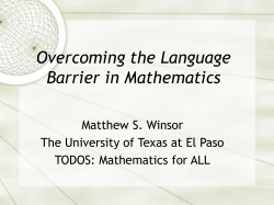 Overcoming the Language Barrier in Mathematics
