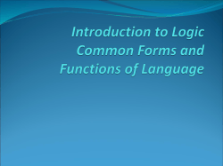 Introduction to Logic Common Forms and Functions
