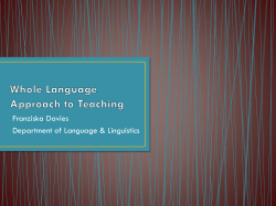 Whole Language Approach to Teaching -