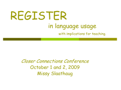 REGISTER in language usage with thoughts on