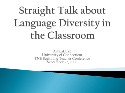 Straight Talk about Language Diversity in the