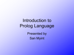 The Prolog Language - University of Rhode Island