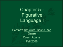 Chapter 5-- Figurative Language I