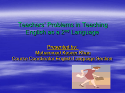 The Teachers Problems in Teaching English Language