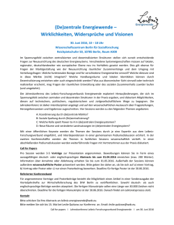 "Call for Abstracts - Leibniz-Forschungsverbund ""Energiewende"""