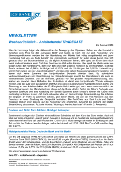 NEWSLETTER - ICF BANK AG