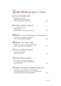 Casino Föhren Speisekarte