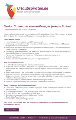 Senior Communications-Manager (w/m) – Vollzeit