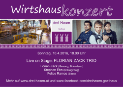 Live on Stage: FLORIAN ZACK TRIO