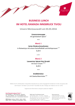BUSINESS LUNCH IM HOTEL RAMADA INNSBRUCK TIVOLI