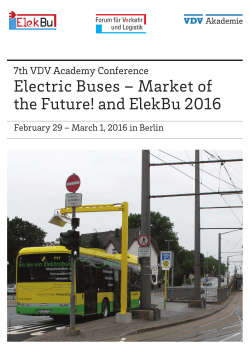 Electric Buses – Market of the Future! and ElekBu - VDV